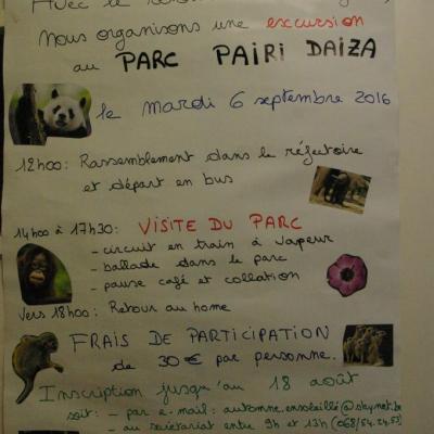 Excursion à Pairi Daiza (06 septembre 2016)